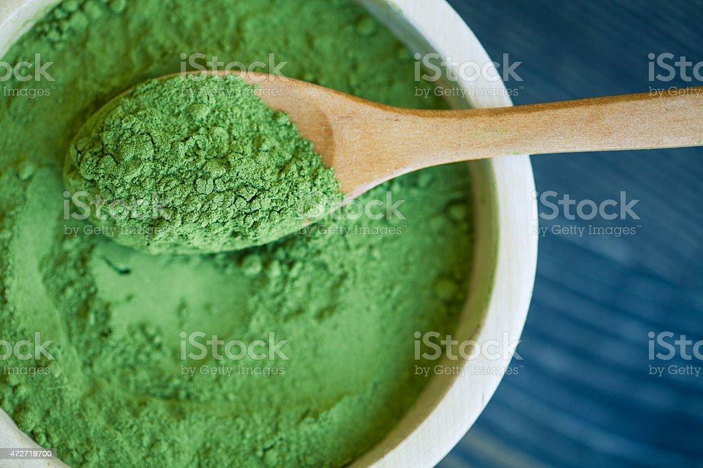 Close-up of Maringa green powder Moringaceae the superfood stock photo