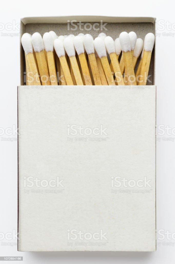 Close-up of matchbox, isolated on white background stock photo