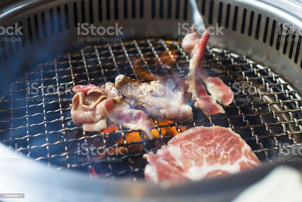 closeup of meat on a grill or barbecue royalty-free stock photo