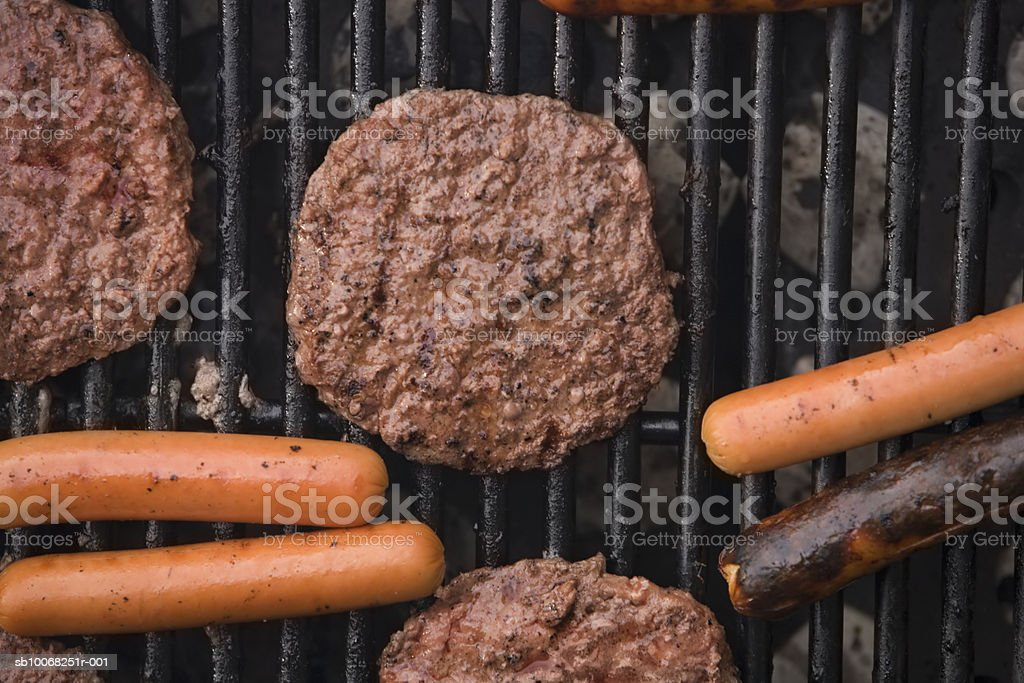 Close-up of meat on grill royalty-free stock photo