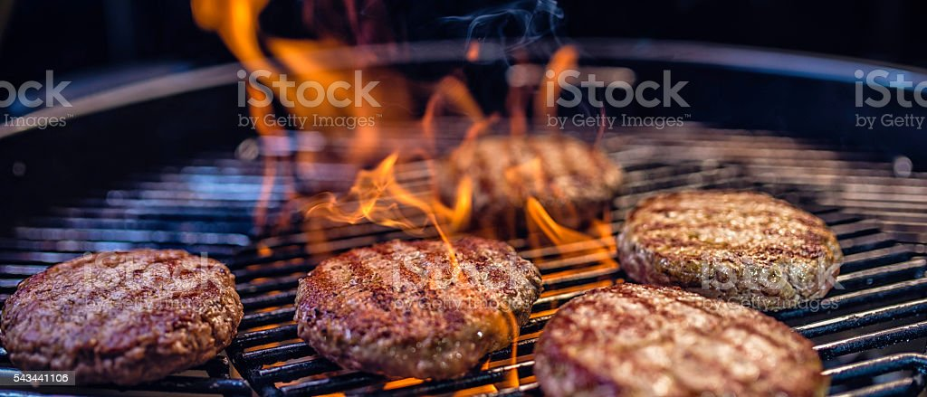 Close-up of meat patties on a barbecue stock photo