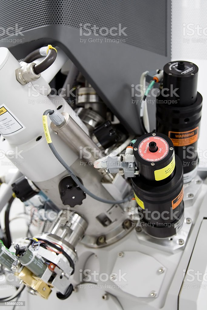 Closeup of mechanisms of E-Beam machine royalty-free stock photo