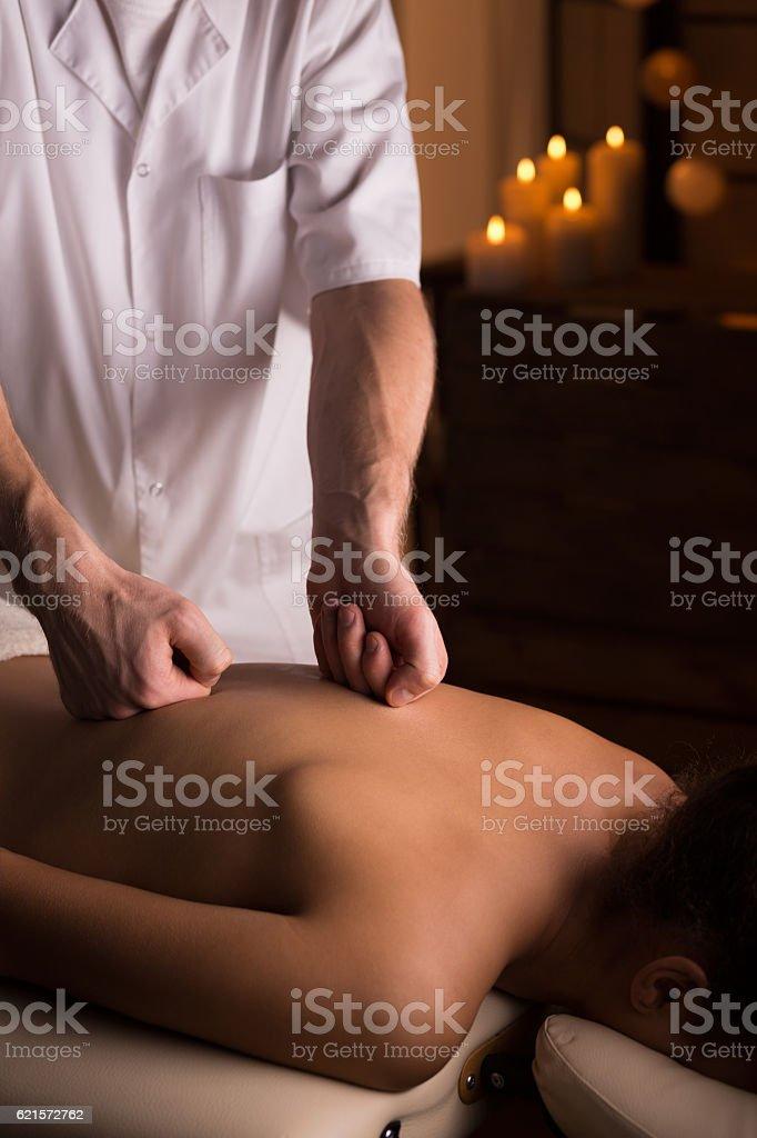 Close-up of medical back massage photo libre de droits