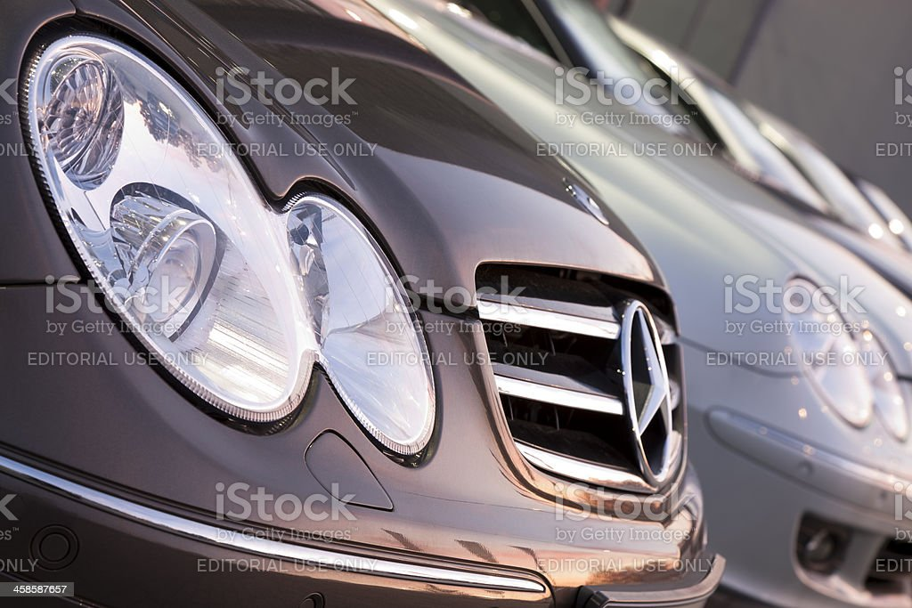 Close-up of Mercedes CLK 200 Compressor cars in a row stock photo