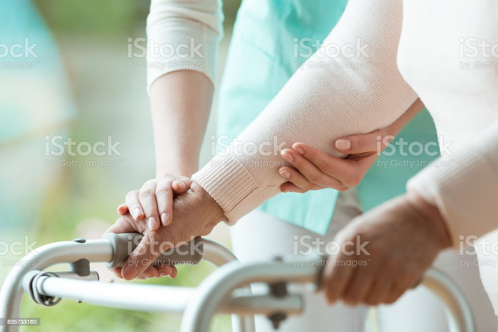 Close-up of metal walker stock photo