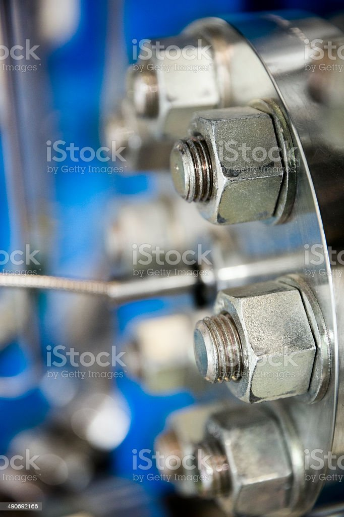 Close-up of metallic machine in industry stock photo
