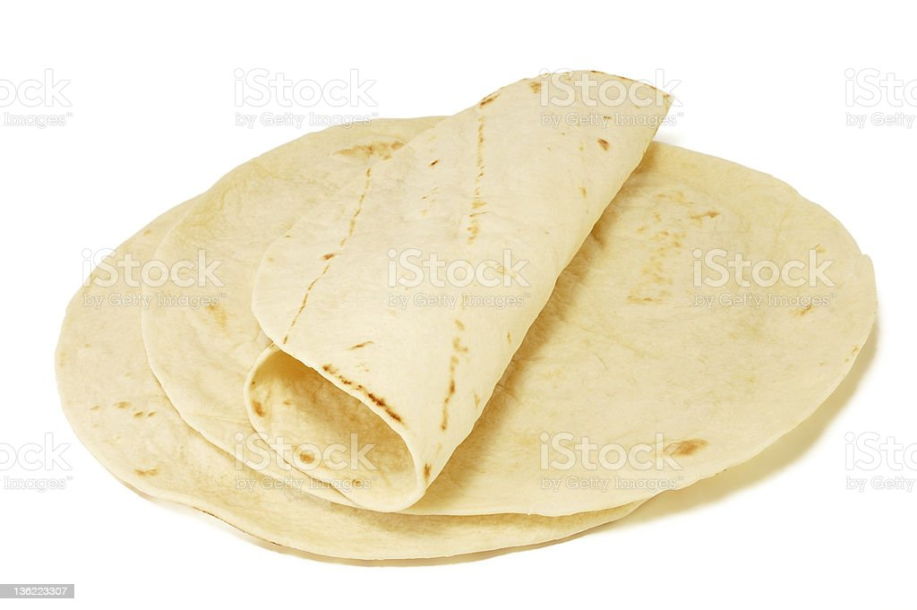 Close-up of Mexican tortillas over a white background stock photo