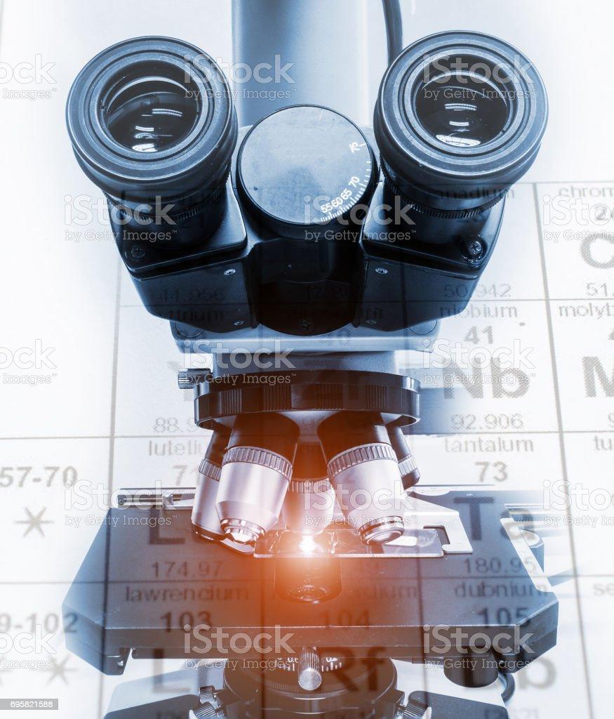 Primer plano de la lente del microscopio. concepto de investigación y desarrollo de laboratorio de ciencia. - foto de stock