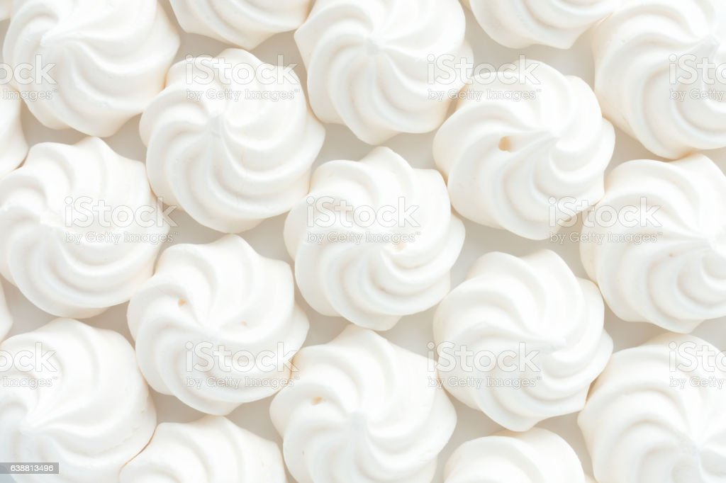 Closeup of Mini Meringues as Food Background stock photo