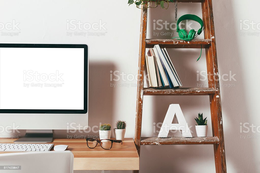 Closeup of minimal office on white background. stock photo