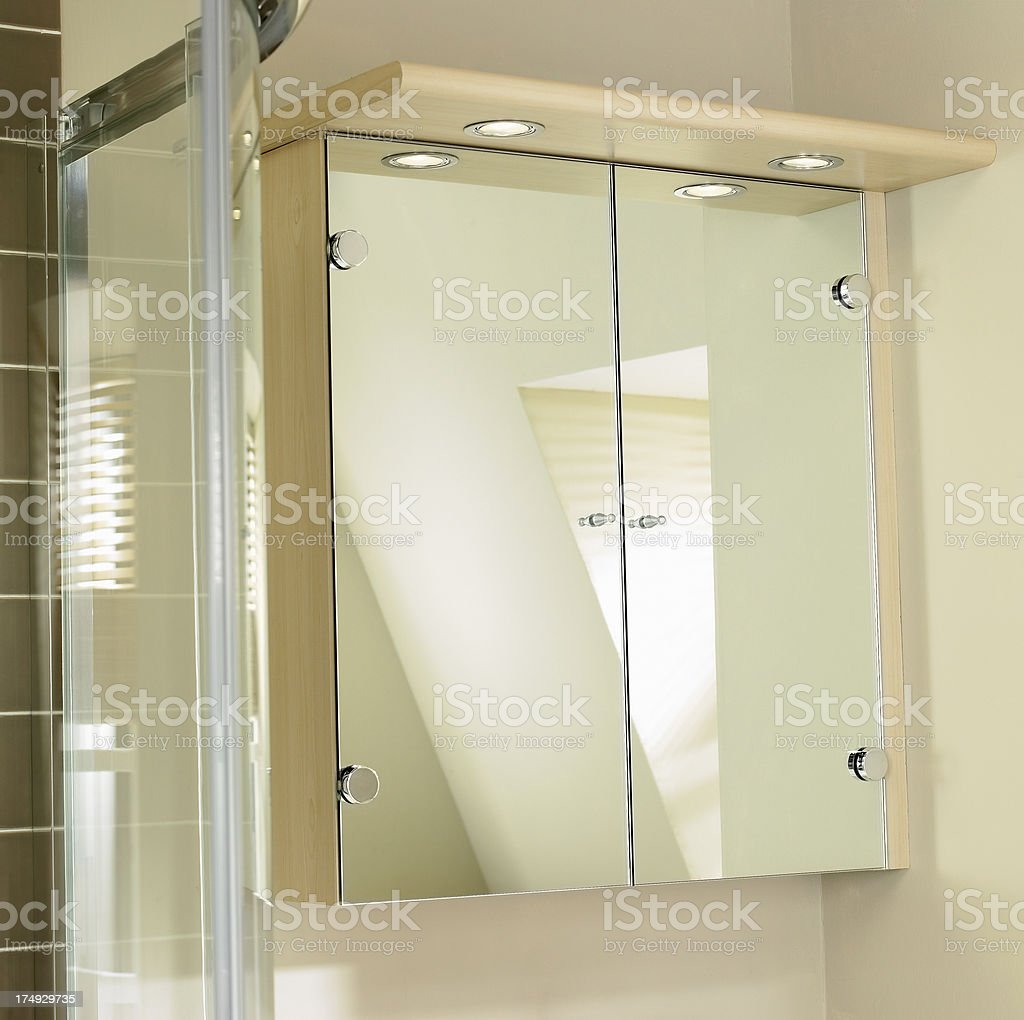 Closeup of mirrored cabinet in bathroom royalty-free stock photo