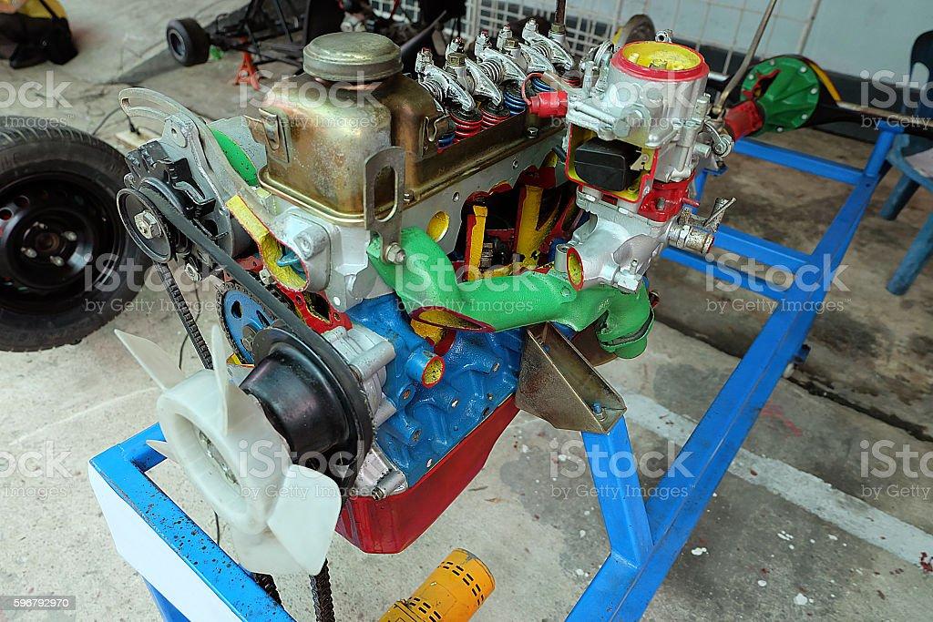 closeup of modern automobile motor car engine part stock photo