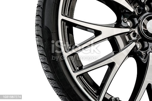 Close-up of modern shiny alloy car wheel in colors of black and chrome.