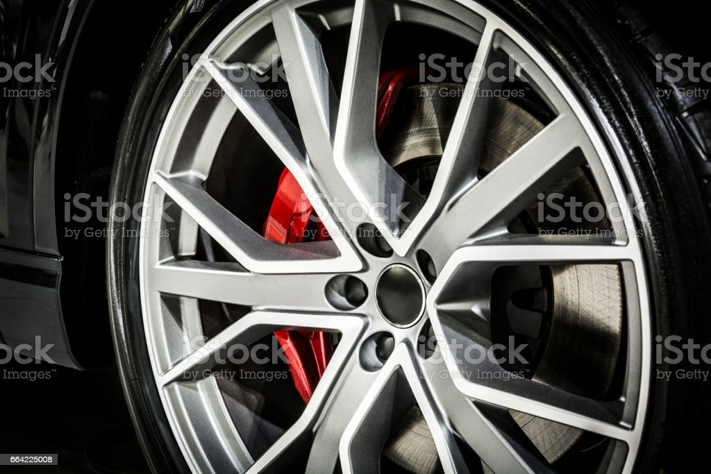 Close-up of modern car wheel stock photo