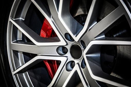 istock Close-up of modern car wheel 664225122