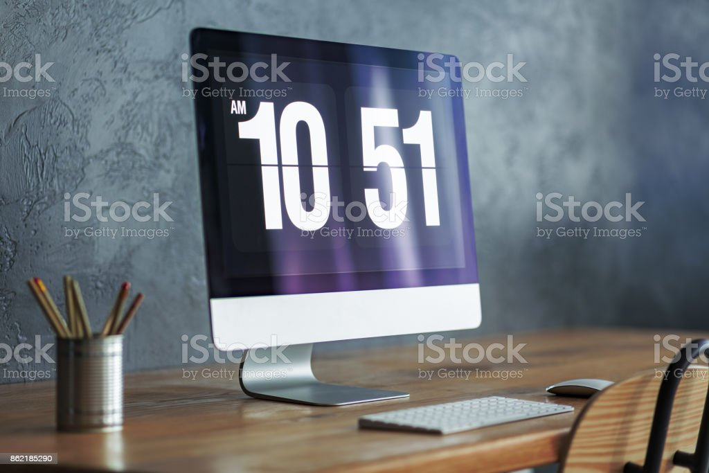 Close-up of modern computer monitor stock photo