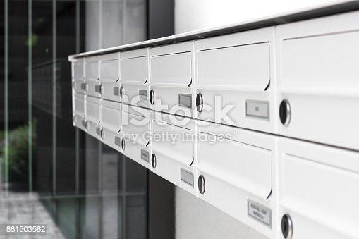 istock Closeup of modern letterbox 881503562