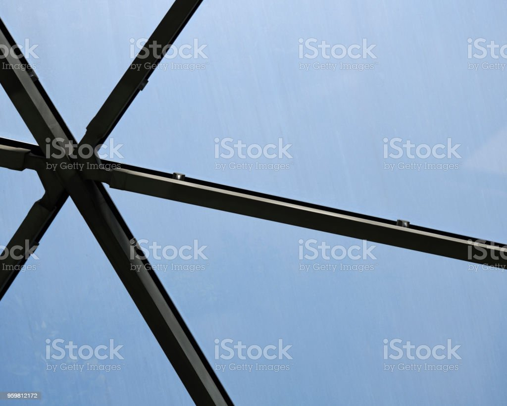 Close-up of modular glass ceiling fragment background stock photo