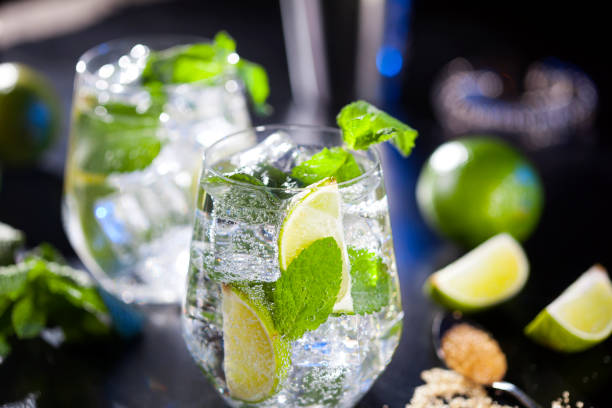 Closeup of mojito cocktails. Ingredients and utensils. stock photo