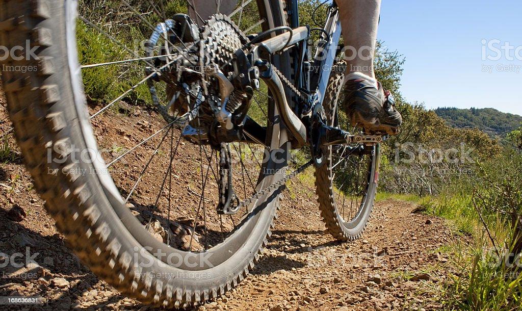 Closeup of mountain bike on a trail. stock photo
