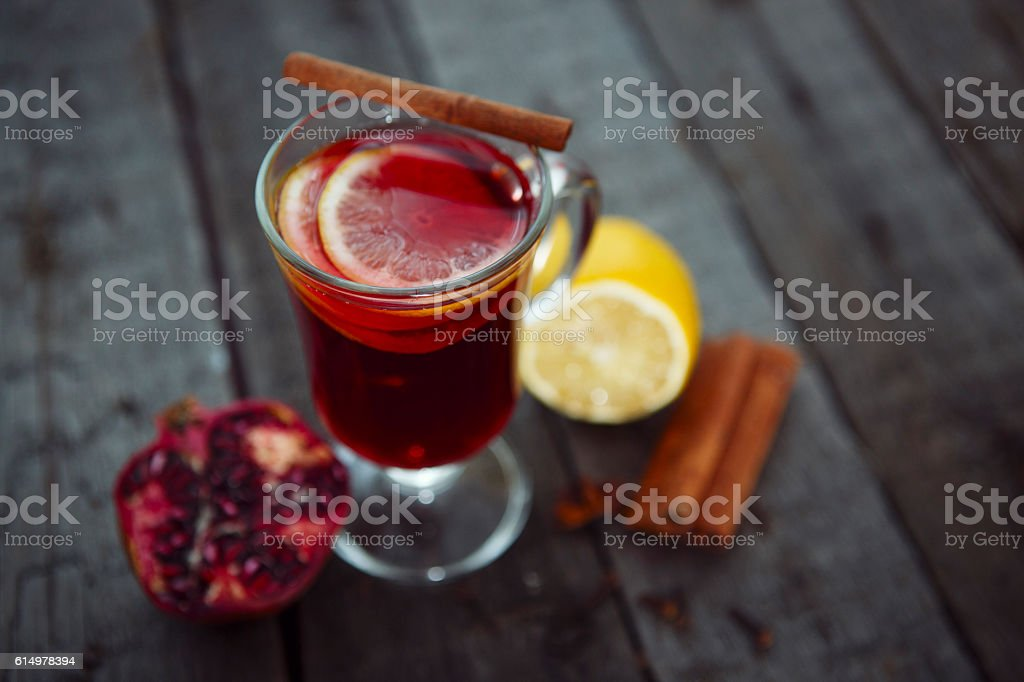 Closeup of mulled wine stock photo