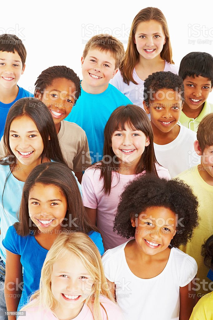 Close-up of multi ethnic kids smiling against white royalty-free stock photo