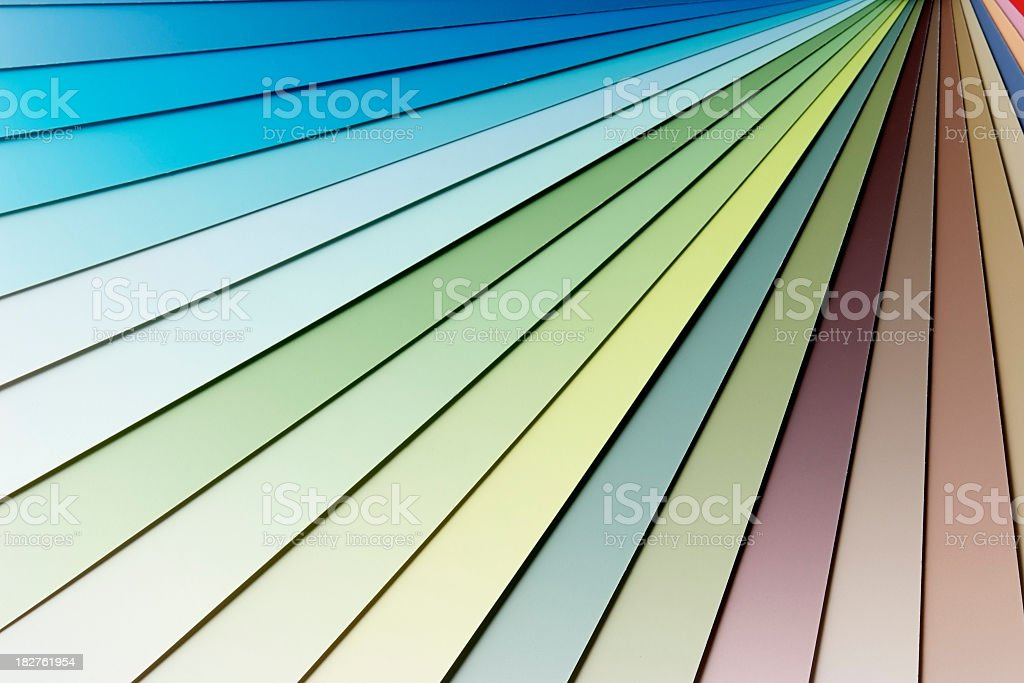 Close-up of multicolor gradation paper samples royalty-free stock photo