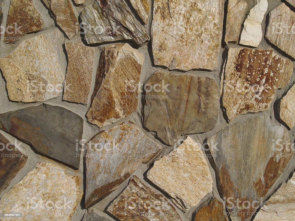 Close-up of Multi-Colored Flat Stone Facade royalty-free stock photo