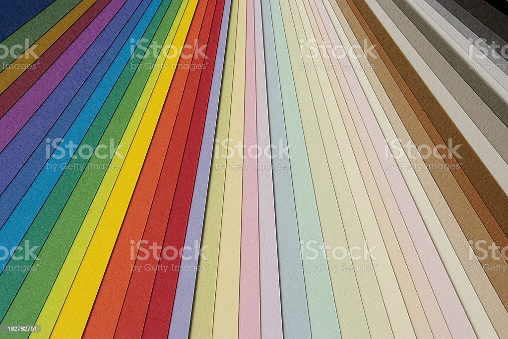 Close-up of multicolored paper samples royalty-free stock photo