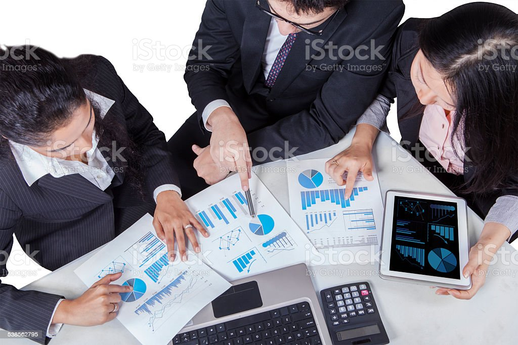Closeup of multiracial worker in meeting stock photo