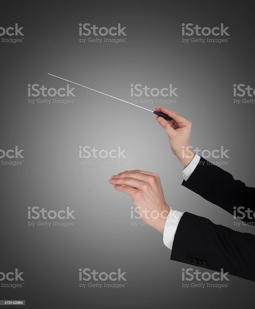 Closeup Of Music Conductor's Hands Holding Baton stock photo