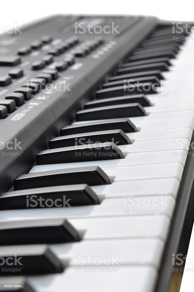 Close-up of music keyboard keys. close frontal view zbiór zdjęć royalty-free