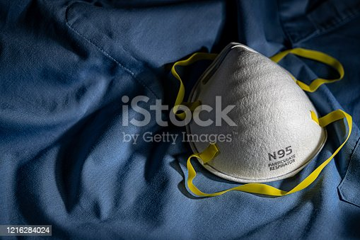 N95 PPE protective mask resting on blue medical scrubs with copy space