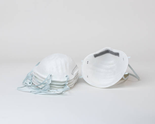 closeup of n95 particle face masks isolated on white background. respiratory protection equipment stock photo