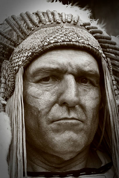 Close-up of Native American Indian Chief stock photo