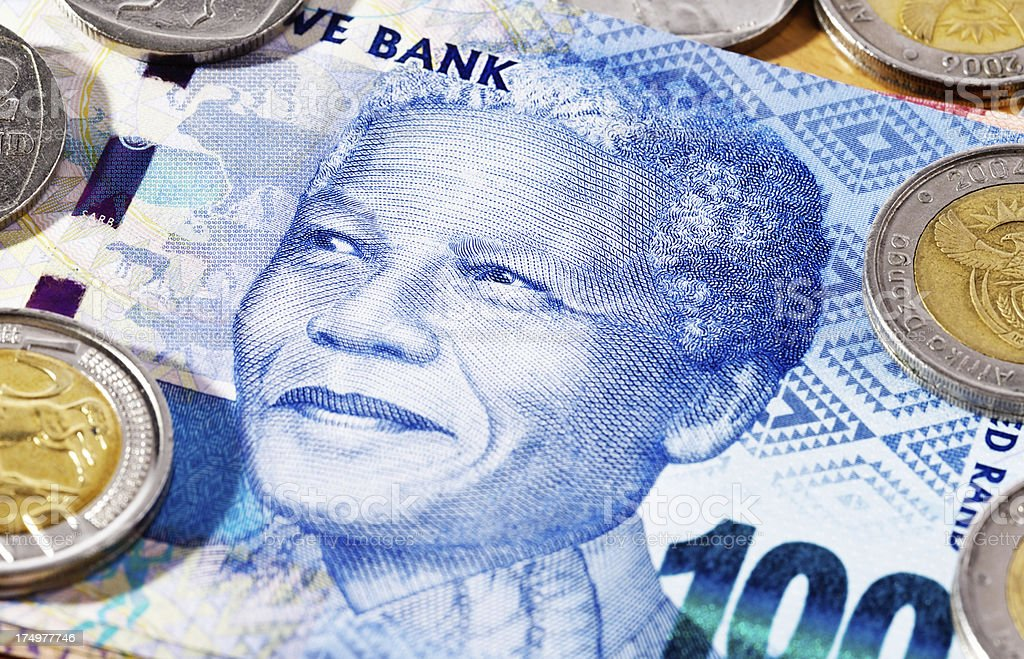 Close-up of Nelson Mandela on new South African banknote stock photo