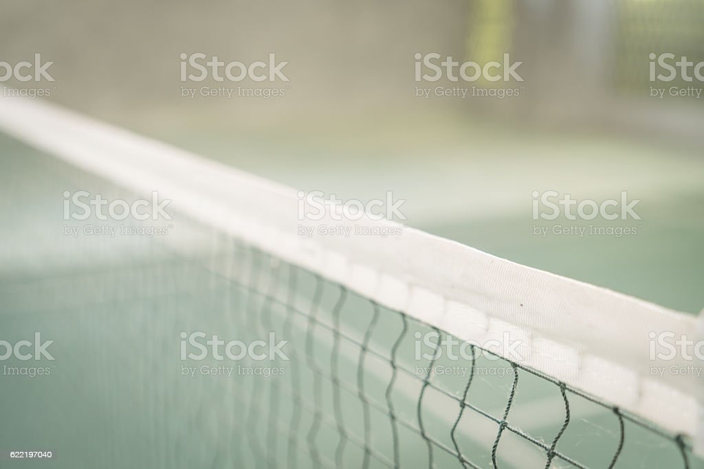 Close-up of net in Badminton court stock photo