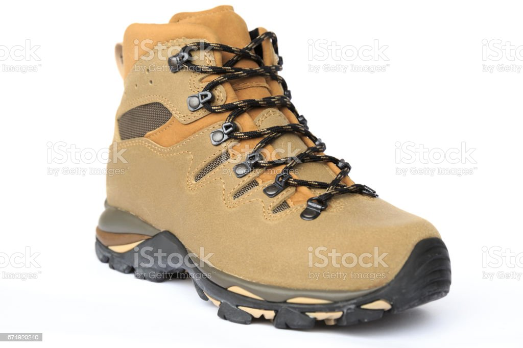 closeup of new hiking boot on white royalty-free stock photo