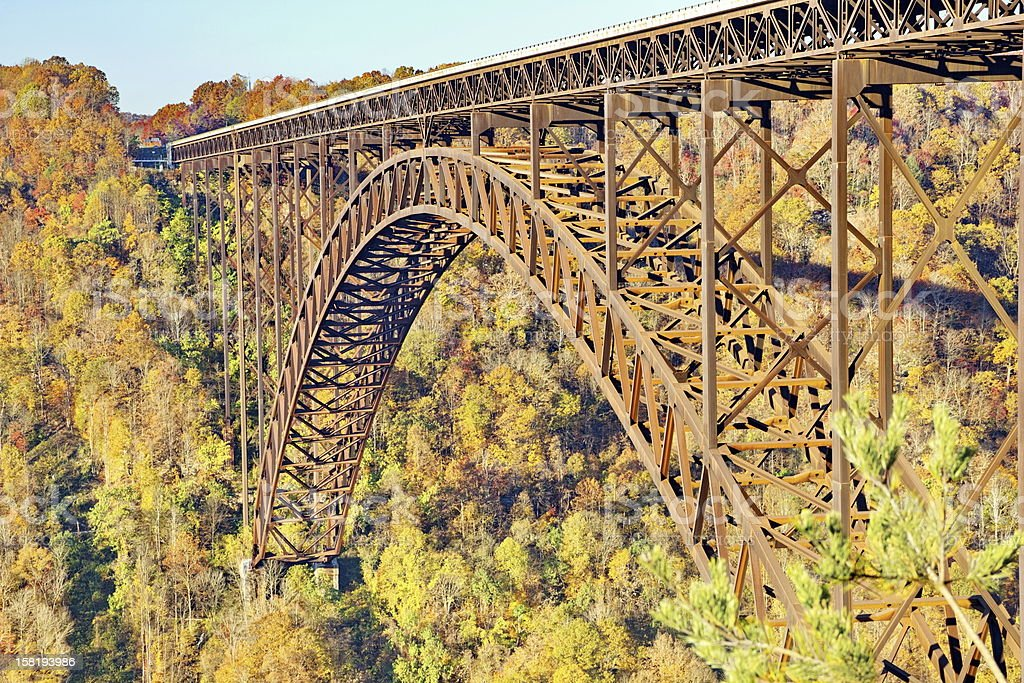 Close-Up of New River Gorge Arch Bridge in Autumn stock photo