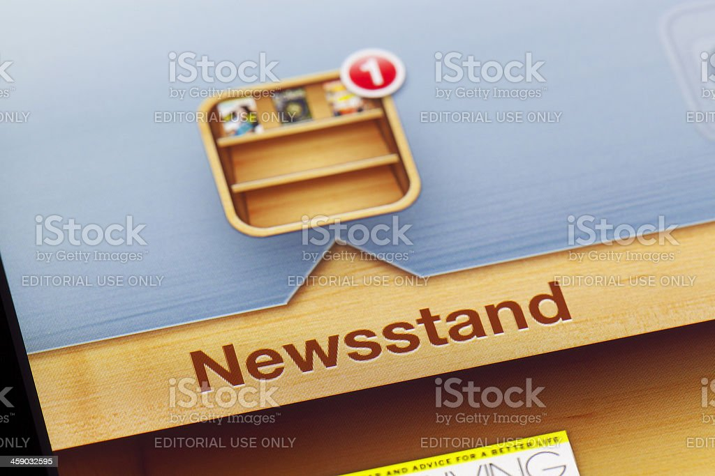 Close-up of Newsstand app on a new ipad royalty-free stock photo