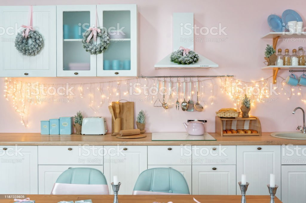 Closeup Of Nterior Modern White Kitchen With Pink Walls And Blue Decor On A Christmas New Year Eve Stock Photo Download Image Now Istock