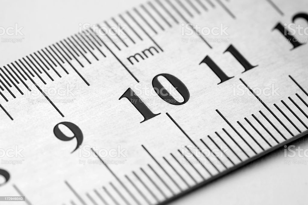 Close-up of numbers 9, 10, and 11, on a white metric ruler stock photo