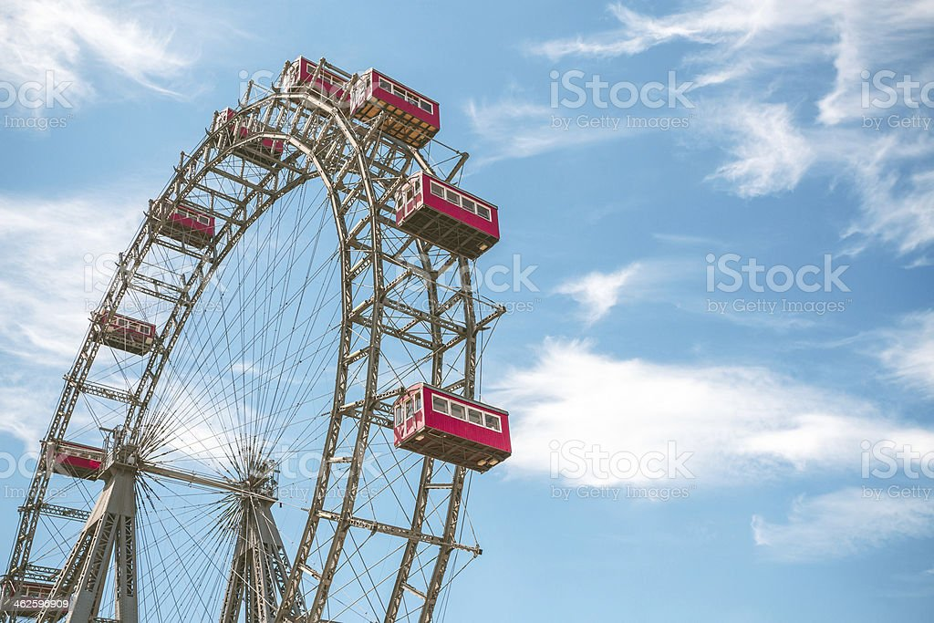Close-up of observation wheel in Prater Park of Vienna stock photo