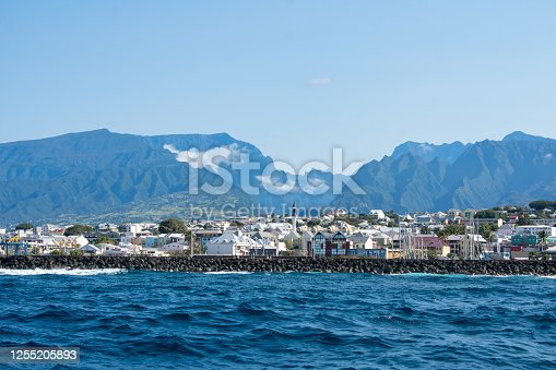 Closeup of ocean view of St. Pierre, Réunion island with the