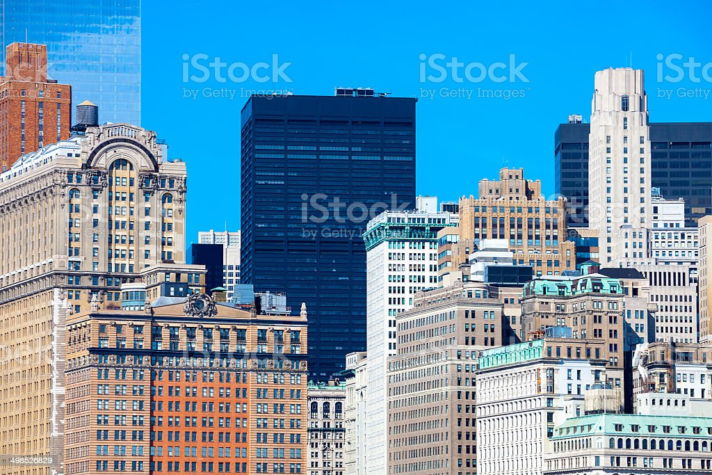 Close-up of Office Buildings in Manhattan, New York City royalty-free stock photo