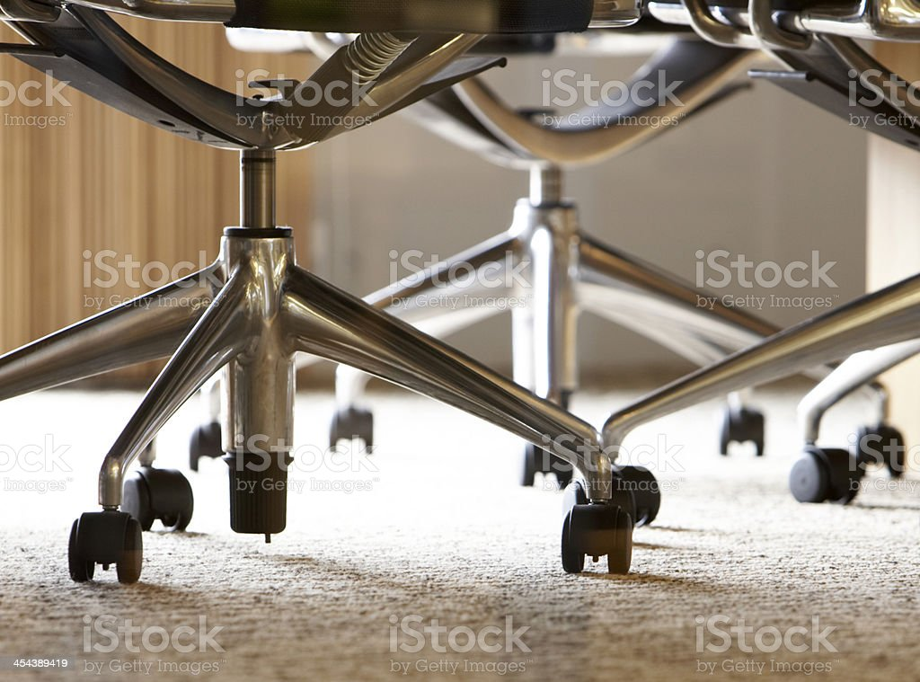 Close-Up of Office Chairs stock photo