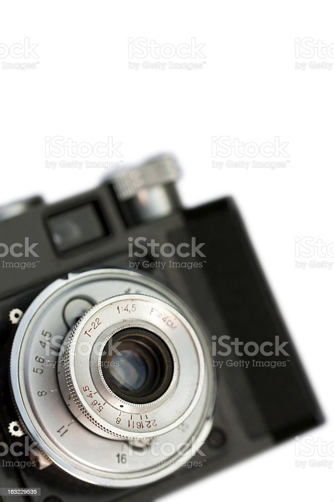 Closeup of old camera lens royalty-free stock photo