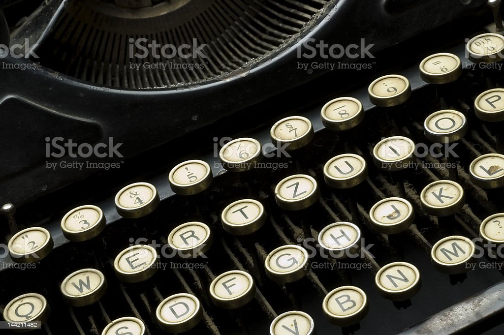 Closeup of old dusty typewriter machine stock photo