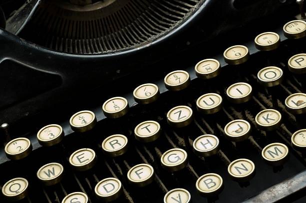 Closeup of old dusty typewriter machine stock photo