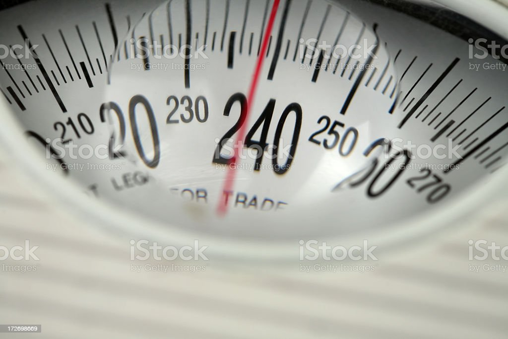 Close-up of old fashioned scale showing heavy weight class royalty-free stock photo